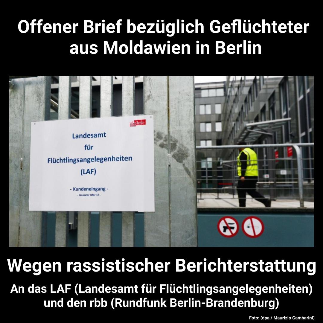 Offener Brief bezüglich Geflüchteter aus Moldawien in Berlin